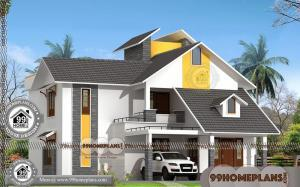 Narrow Lot House Plans | Two Story 2324 sq ft Modern Home Collections