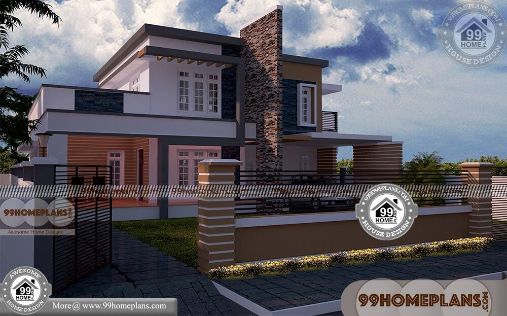 Rectangular Home Plans With 3d Elevations Double Story