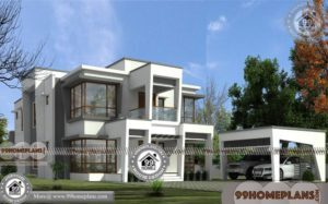 Small House Plans With Garage | Two Floor Flat Roof Modern Collections