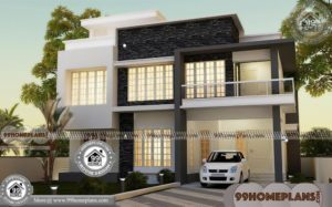 Square Two Story House Plans with 3D Elevations | 600+ Modern Designs