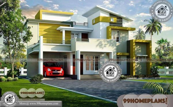 Two Storey House with Contemporary Style Home Exterior Design Ideas