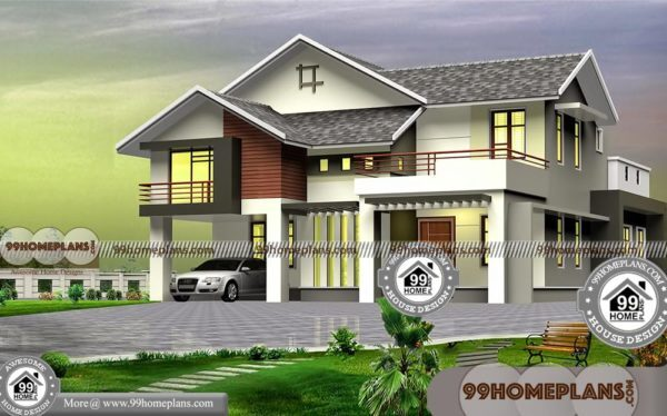 Two Story 4 Bedroom House Plans With 3d Elevations Low Cost Designs