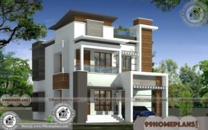Two Story Homes Designs with 3D Elevations | Narrow Block House Plans