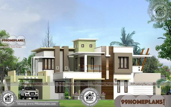 Two story modern house plans with fusion style flat roof for Plan collection modern house plans