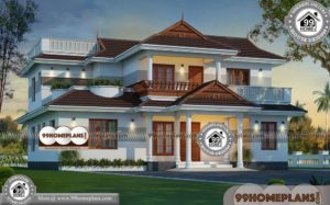 West Facing House Plans | Double Story Traditional Home Design Photos