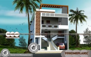 3 Floor Apartments with New Double Story House Plans & 3D Elevations