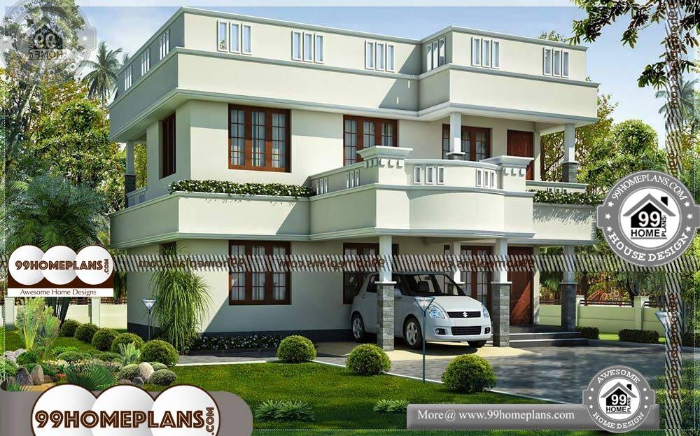 Front Elevation in Indian Homes - 2 Story 1646 sqft-Home