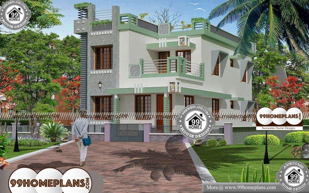 Simple Front Elevation Of House - 2 Story 1945 sqft-Home