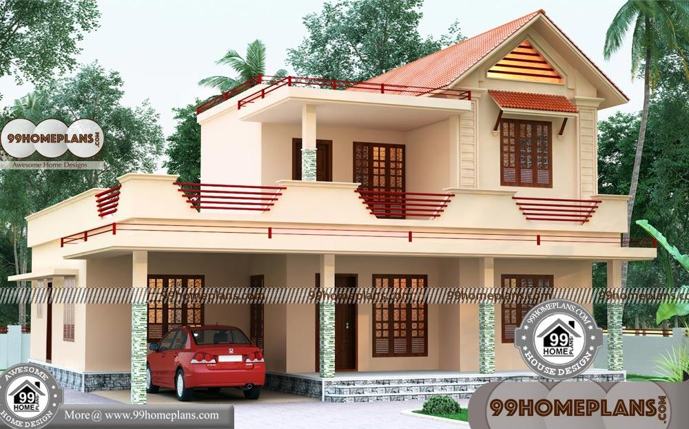 Double Storey House Elevations : Double story house front design with d elevation