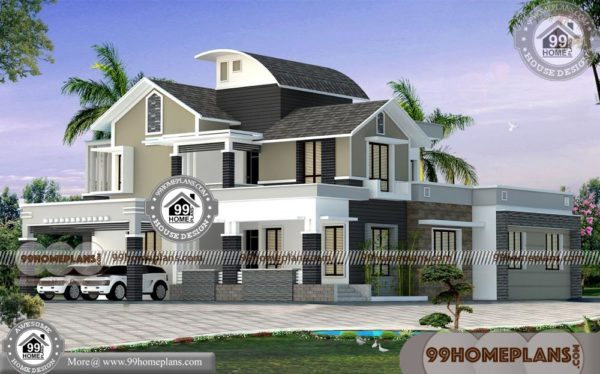 Exterior Elevation Design with Modern Two Story Homes & 99 Home Plans