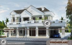 Home Front View Indian Style 70+ Two Storey House With Terrace Design