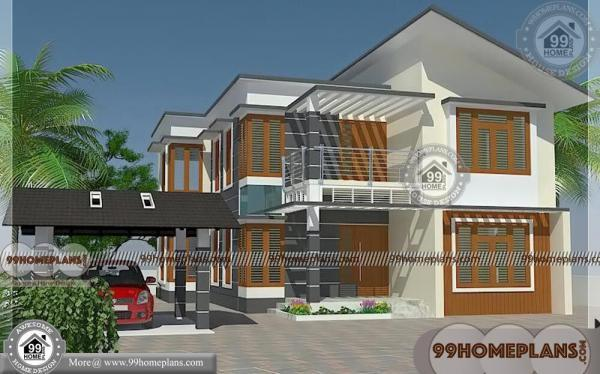 Two Storey Narrow Block House Designs with Two Floor House Plans Idea