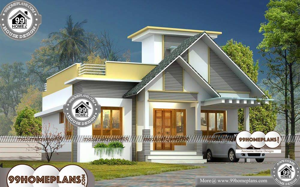 2 Bedroom House Plans 3D - One Story 999 sqft-HOME