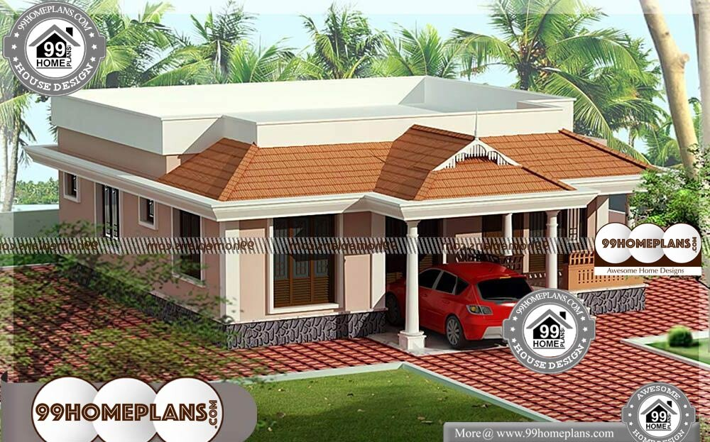Front Elevation Designs for Single Floor Houses - One Story 1030 sqft- HOME