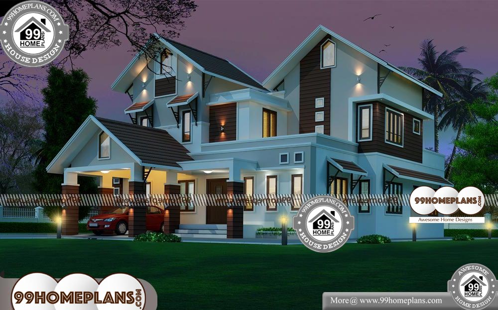 House Front Designs in Indian Style - 2 Story 2963 sqft-Home