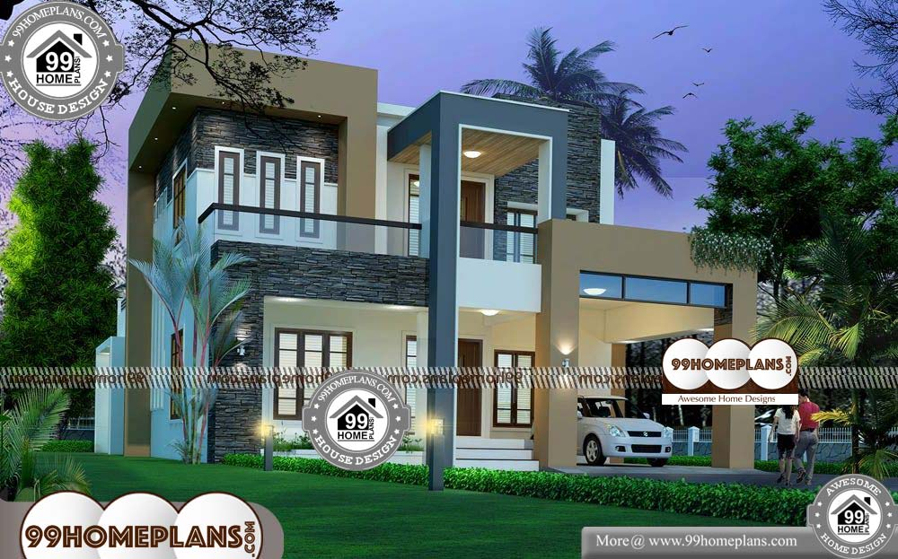 Indian Home Plans and Elevations - 2 Story 2805 sqft-Home