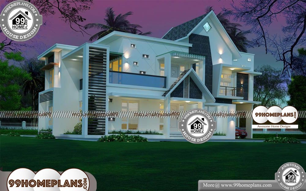 Indian House Front View Design - 2 Story 2895 sqft-Home