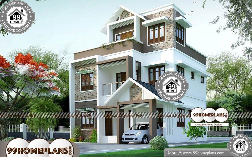 Low Budget House Plans in Kerala with Cost - 2 Story 1595 sqft-HOME