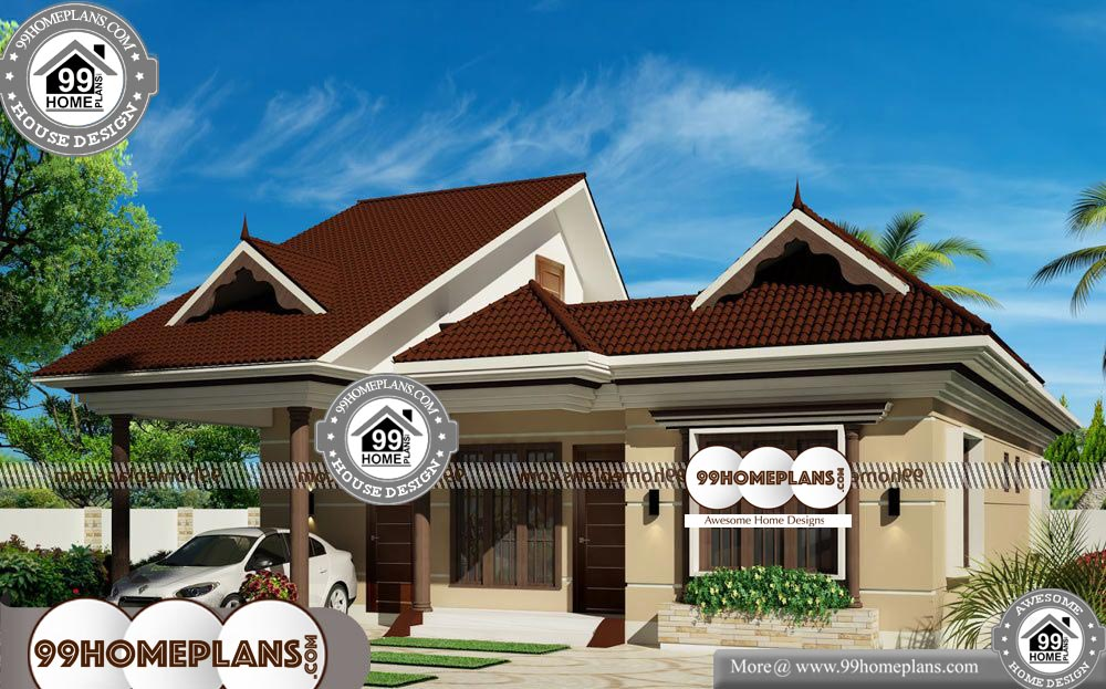 Modern One Floor House Plans - One Story 1300 sqft-Home