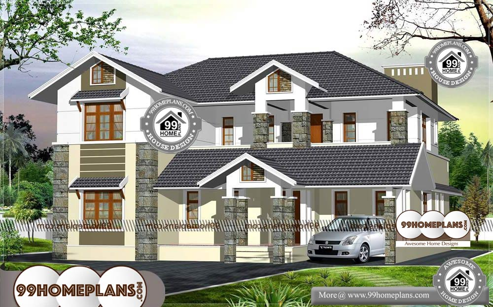 South Indian Home Designs and Plans - 2 Story 2950 sqft-Home