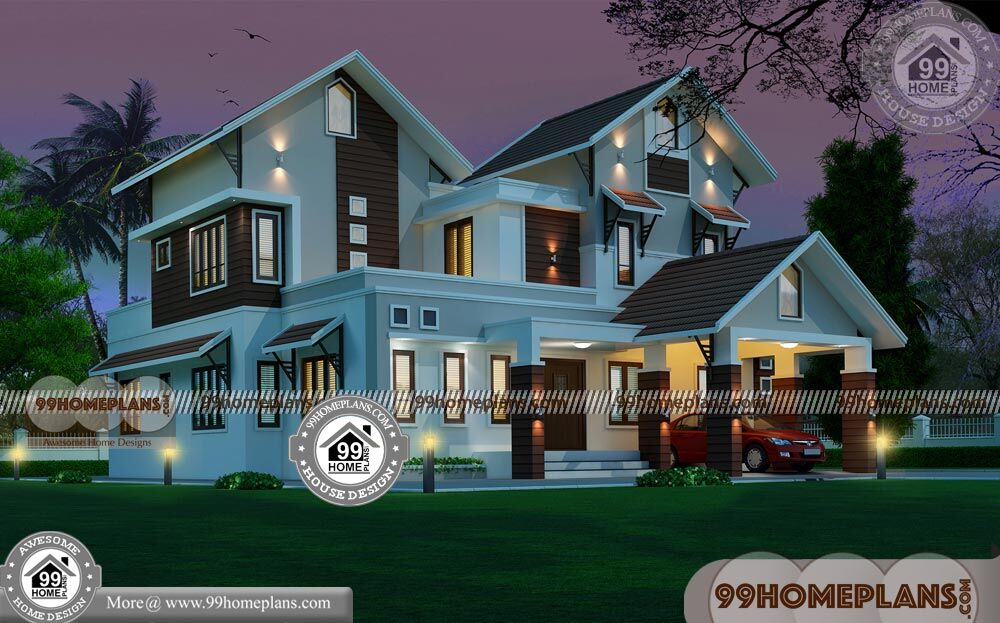 House Front Designs in Indian Style & 90+ Modern 2 Storey Homes Plans