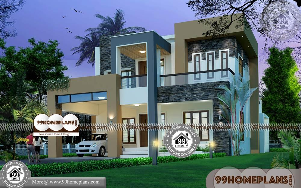 Indian Home Plans and Elevations   90+ Two Storey Small House Design