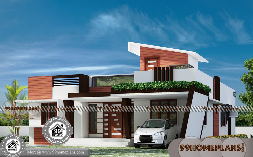 Contemporary House Elevation Single Floor: Single Floor Contemporary House Design 70+ 3d Elevation Of
