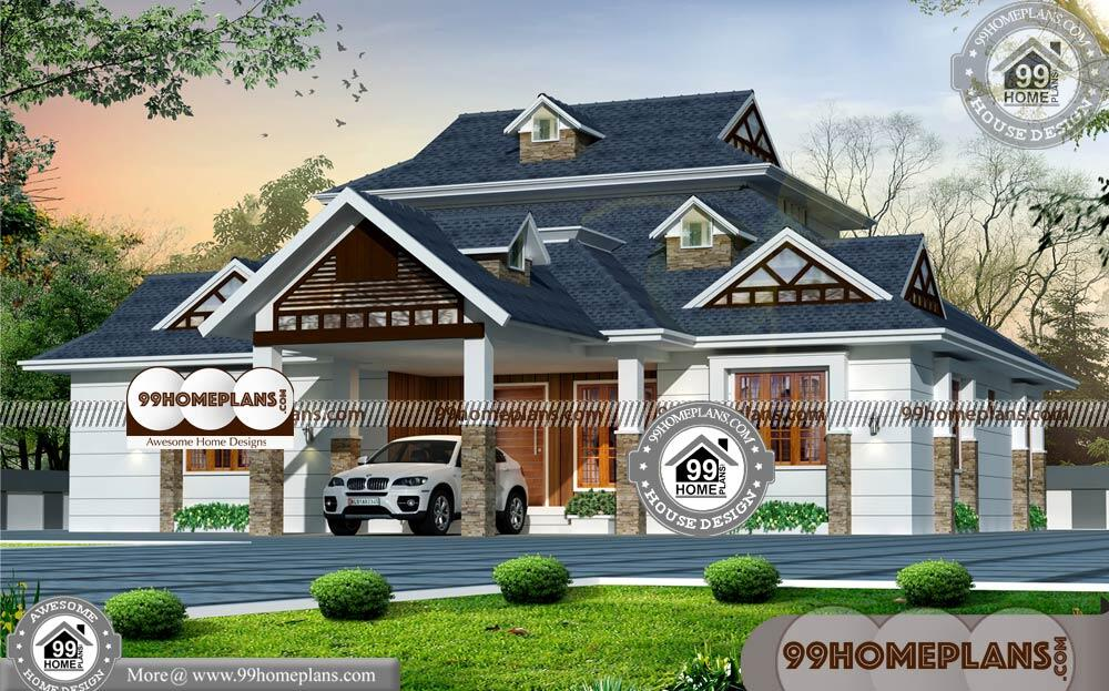 1 Story Home & 100+ Traditional House Plans Kerala Style Collections