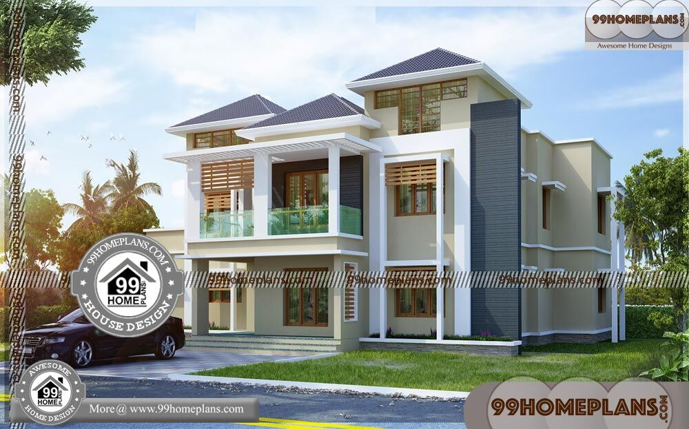 2 Story House Plans with Balcony & 90+ Traditional Home Architecture