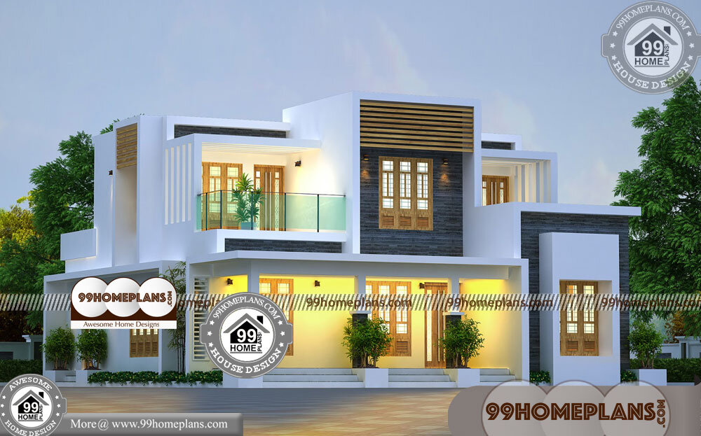 2 Story Narrow Lot Plans 70 Kerala Contemporary Style House Plans