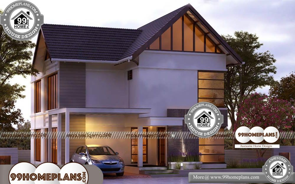 Contemporary Modern Style Home Plans - 2 Story 1478 sqft-HOME