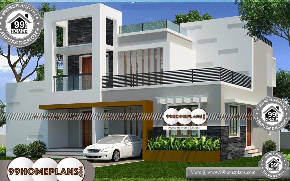 Two Story House Plans with Balconies - 2 Story 1600 sqft-HOME
