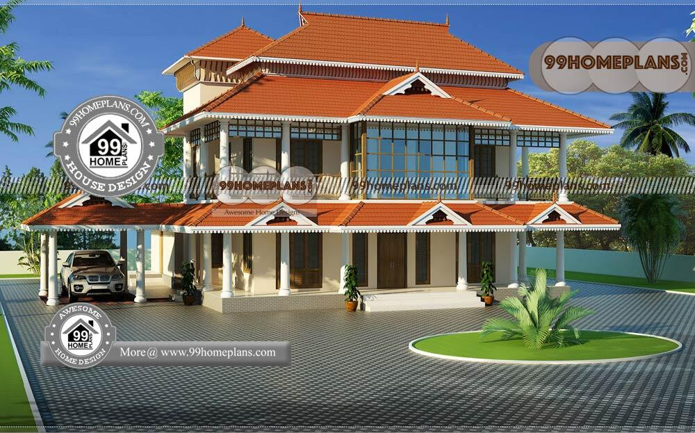 Front Design of Indian House & 70+ Traditional House Plans Kerala Style