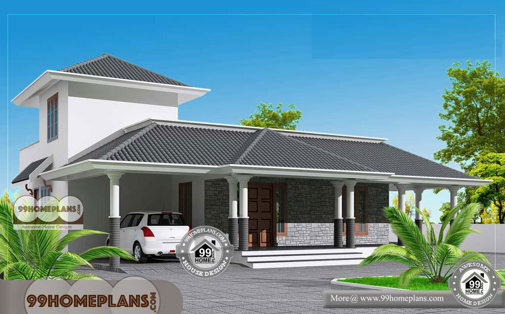 One story contemporary house plans 70 low budget veedu for Low cost veedu plans