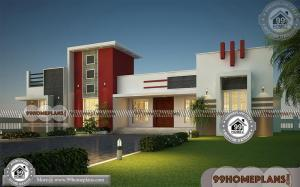Fusion Style Indian House Front Design 4000 Floor Plans