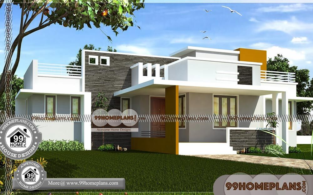 Single Floor House Front Design | 90+ Kerala Contemporary ...