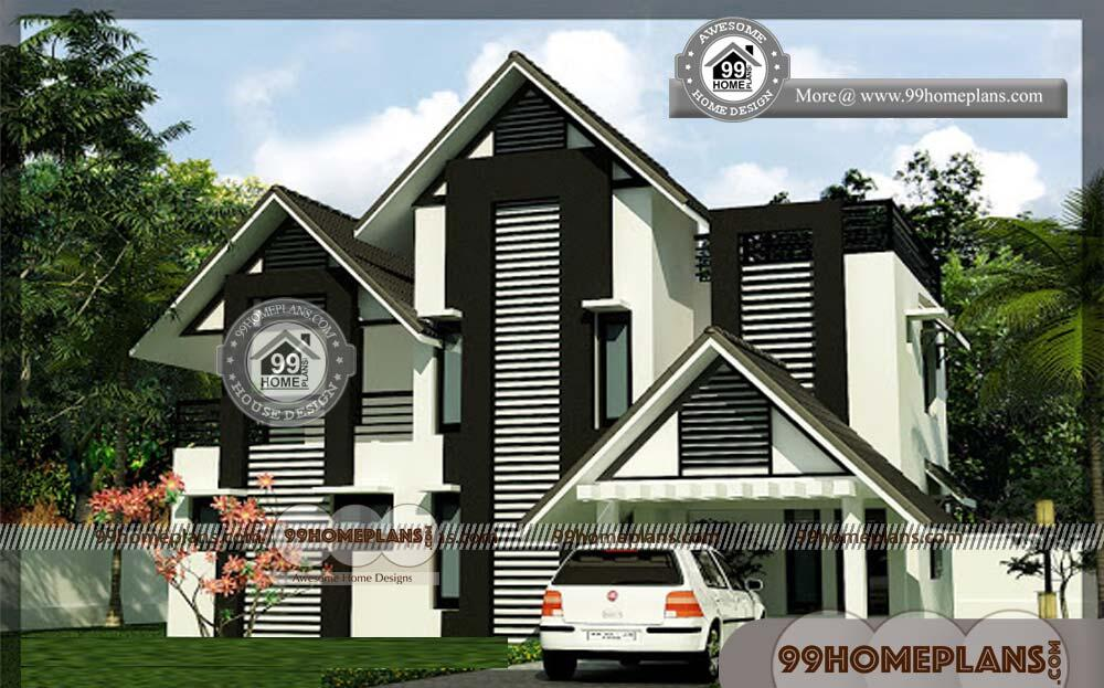 Small Economical House Plans   40+ Two Story Homes With Balcony