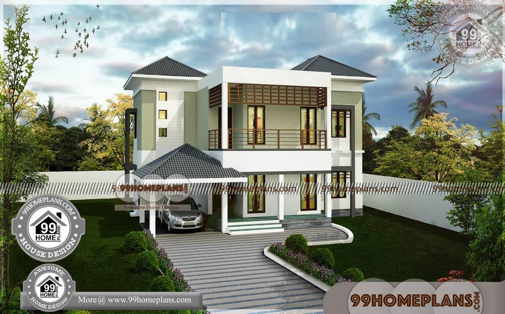 Two Storey House Plans with Balcony 80+ House Designs ...